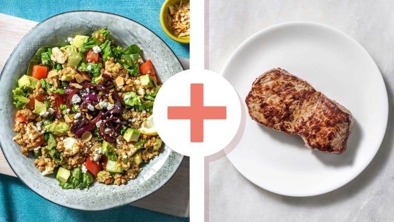 Salade de lentilles au boulgour et rumsteak en extra