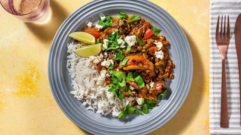 Émincés de cuisse de poulet au curry rouge relevé et fromage grec