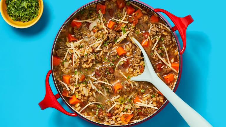 One-Pot Rustic Farro & Pork Sausage Soup