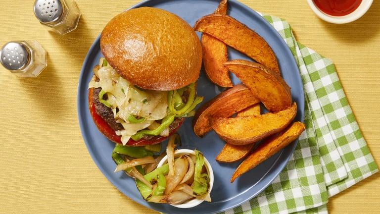 Smothered Pepper Jack Pork Burgers