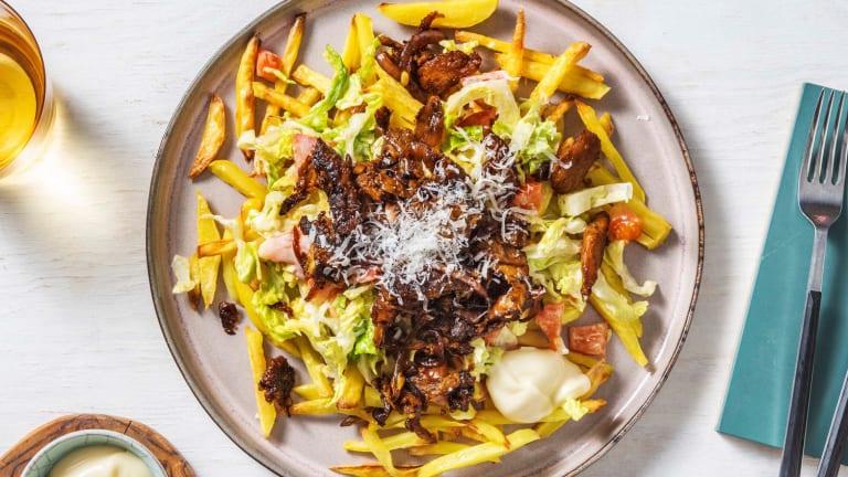 Kebab végétarien et frites au four