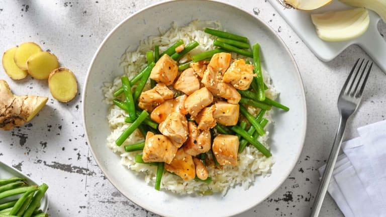 Poulet en sauce asiatique douce et haricots verts