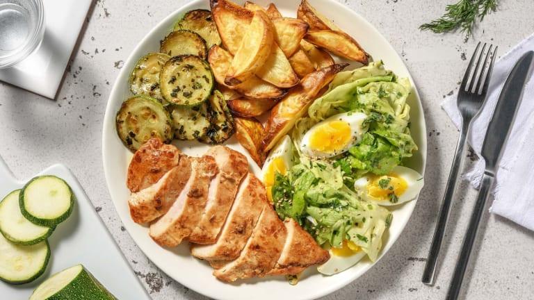 Filet de poulet aux herbes et pommes de terre au four