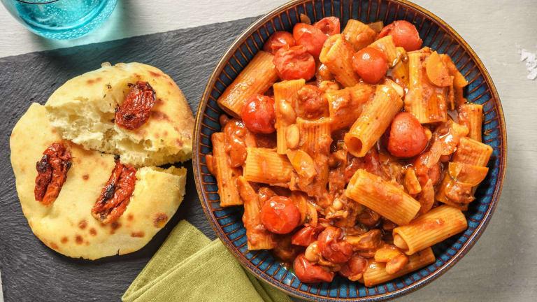 Pasta e fagioli végane, sauce aux tomates cerises