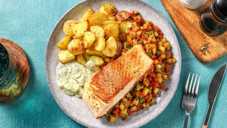Filet de saumon poêlé et mayonnaise à l'aneth