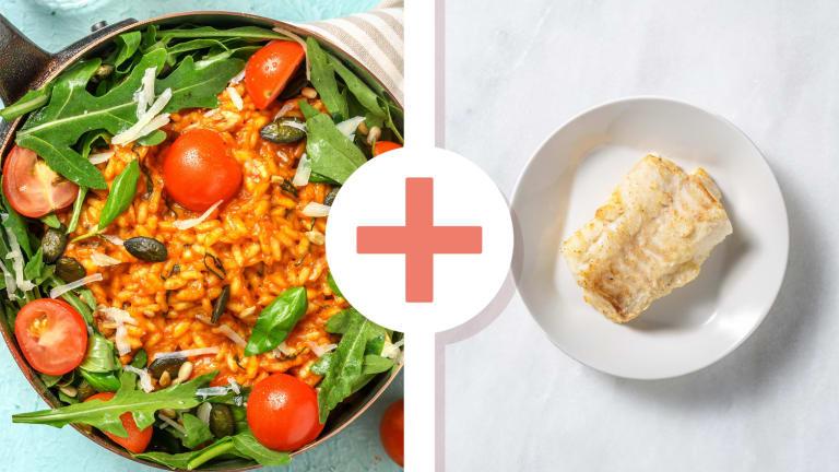Risotto à la tomate et filet d'églefin en extra