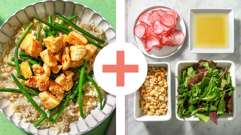 Poulet en sauce asiatique douce et salade en extra