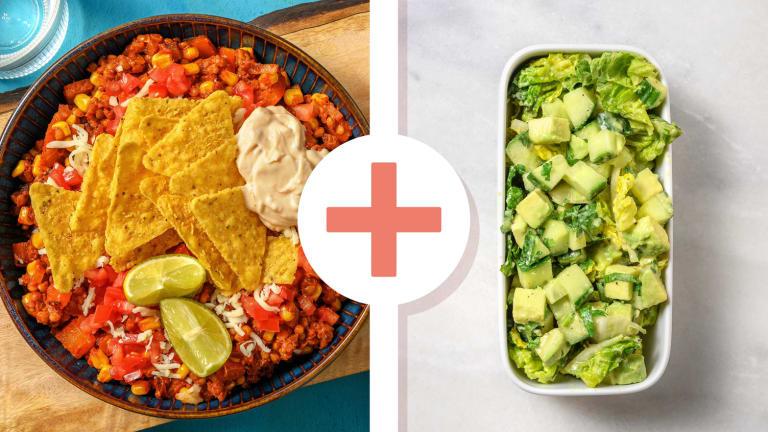 Mexicaans gekruide linzenstoof met een salade als extra