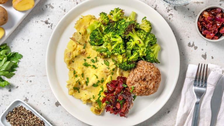 Duitse biefstuk met geroosterde broccoli
