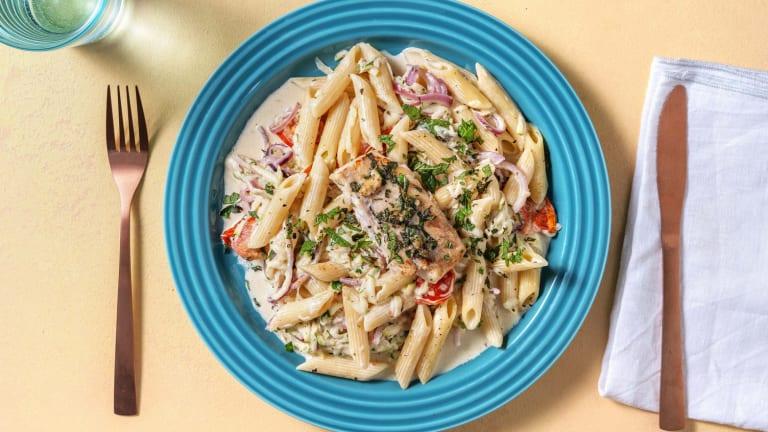 Gemarineerde kabeljauw met pasta in roomsaus