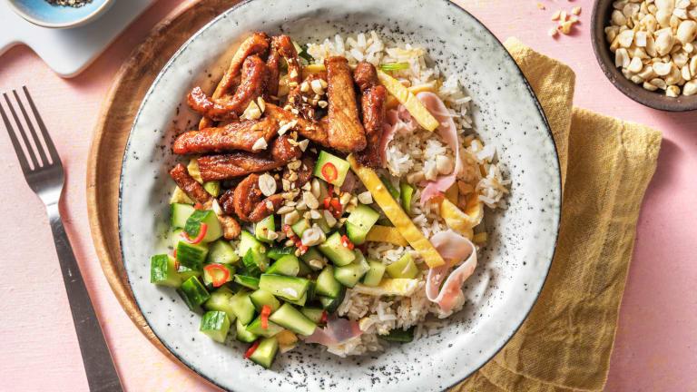 Gemarineerde varkenshaasreepjes met gebakken rijst