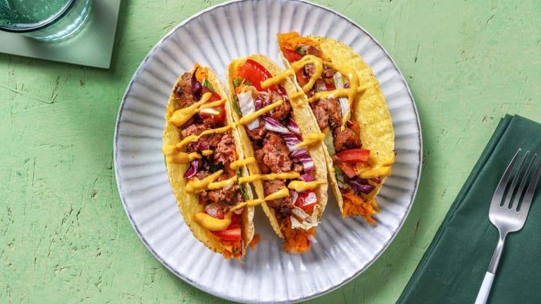 Vegan taco's met  gekruid vegetarisch vlees