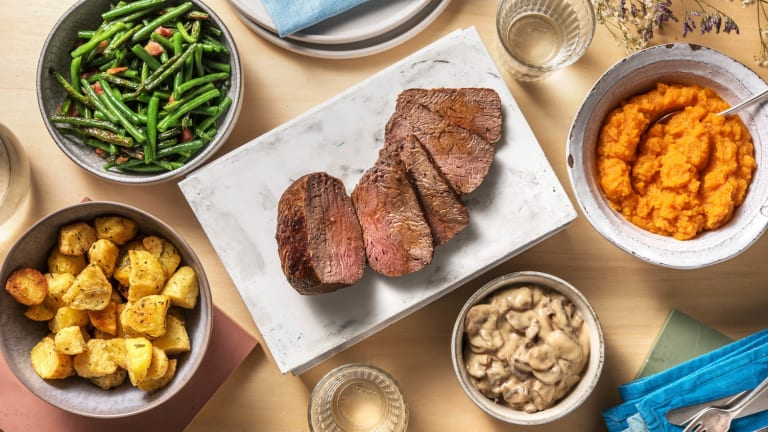 Contrefilet de bœuf et sauce crémeuse aux champignons