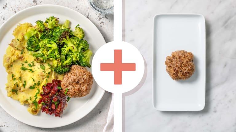 Double portion de steak haché et brocoli rôti