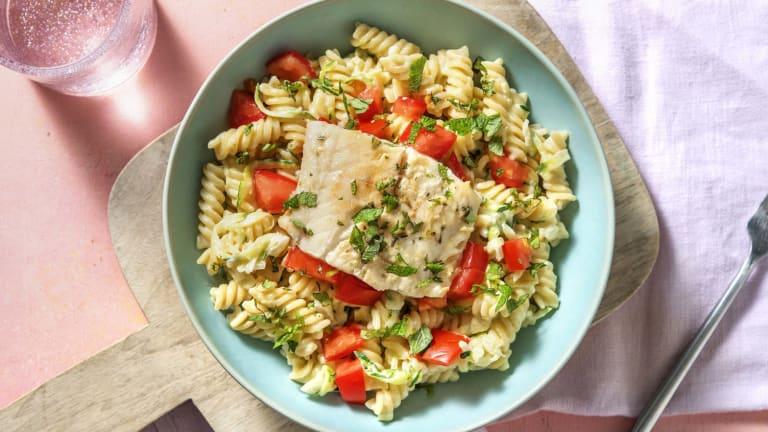 Gemarineerde schelvis met pasta in roomsaus