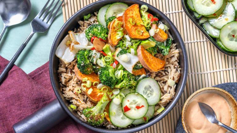 Asia-Bowl mit Wildreis und scharfem Broccoli