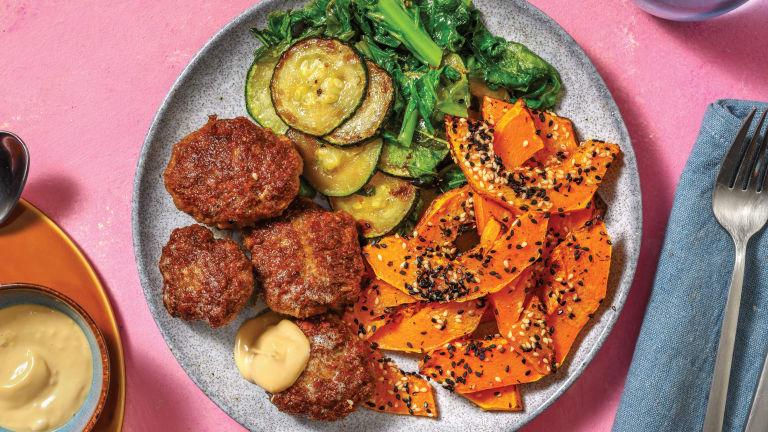 Asian Beef Rissoles & Sesame Pumpkin Wedges