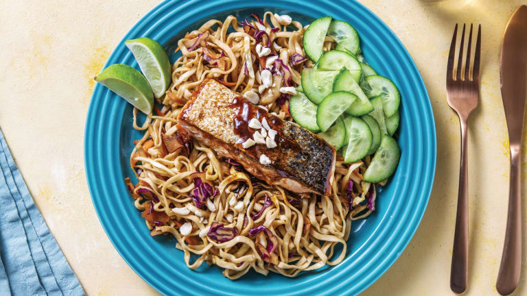 Asian Glazed Salmon with Noodles & Peanuts