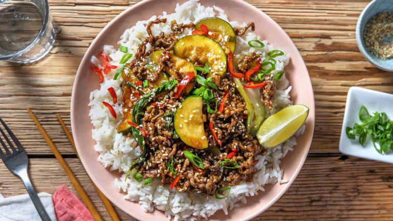 Asiatische Rinderhackfleisch-Pfanne