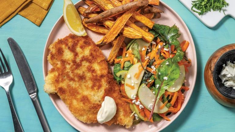 Herby Crumbed Chicken & Kumara Fries