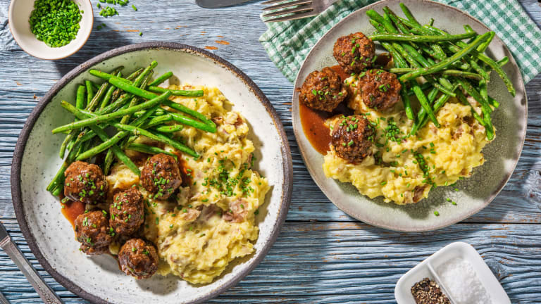 BBQ Beef Meatballs with Smashed Potatoes