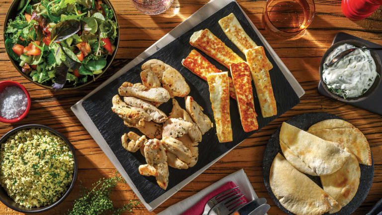 Chargrilled Greek-Style Chicken & Haloumi