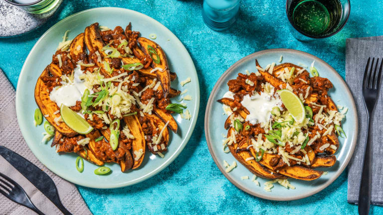 Beany Beef and Bacon Loaded Sweet Potato Wedges