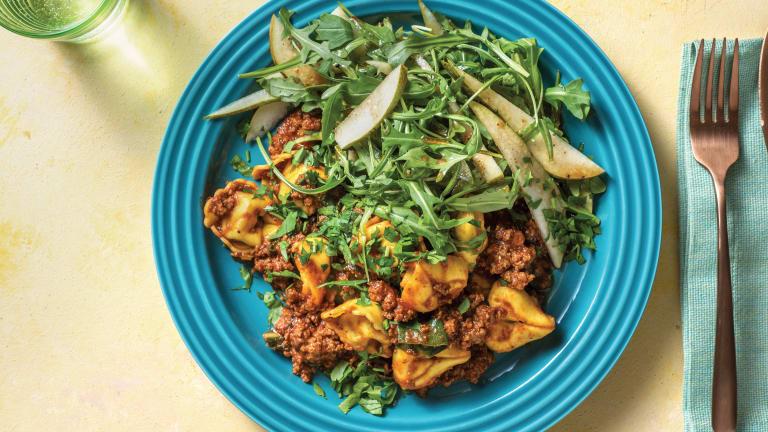 Beef Ragu Tortellini with Rocket-Pear Salad