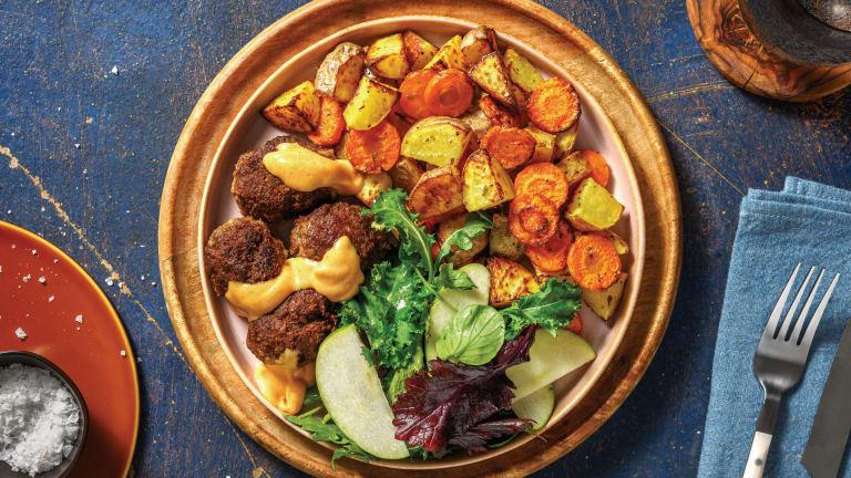 Cheesy Beef Rissoles & Roasted Veggie Chunks