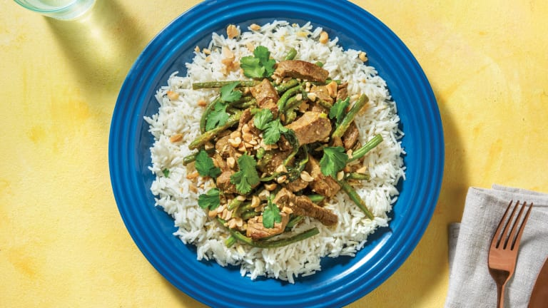 Bengali Beef Strip Curry with Rice & Peanuts