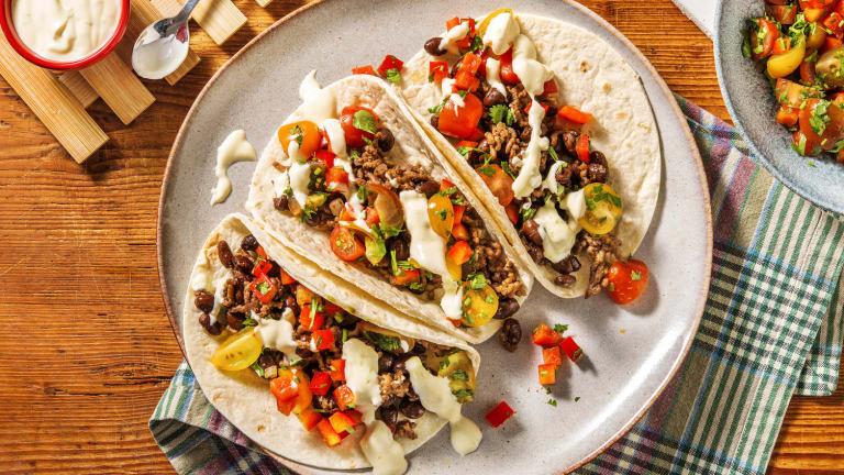 Black Bean Tacos and Tomato Pepper Salsa
