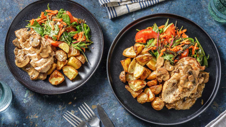 Blanc de poulet et sauce aux champignons