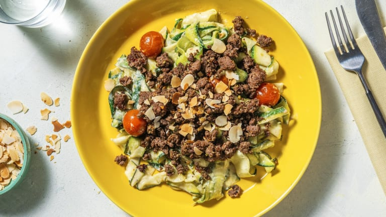 Mediterranean Beef and Zucchini Ribbons
