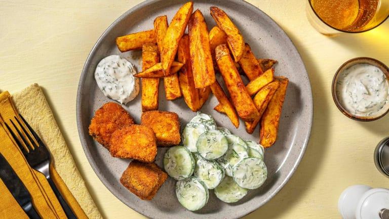 Salmon Bites and Chunky Fries