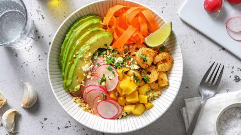 Bowl quinoa, crevettes & avocat