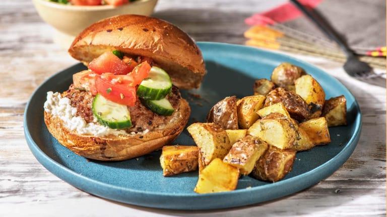 Pork Souvlaki-Inspired Burgers