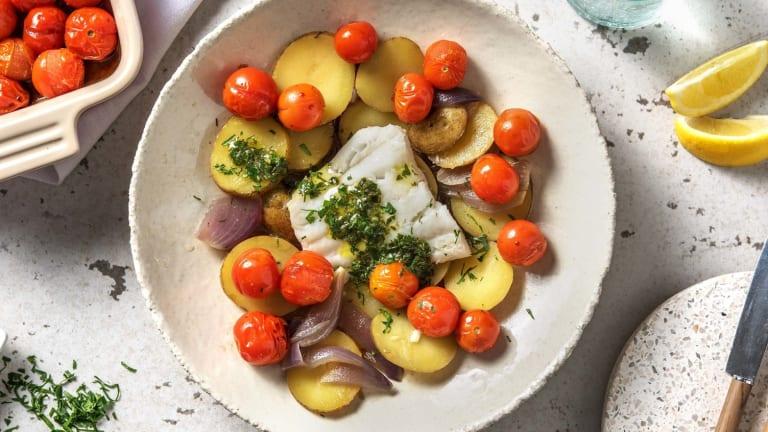 Cabillaud à la méditerranéenne et beurre aux fines herbes maison