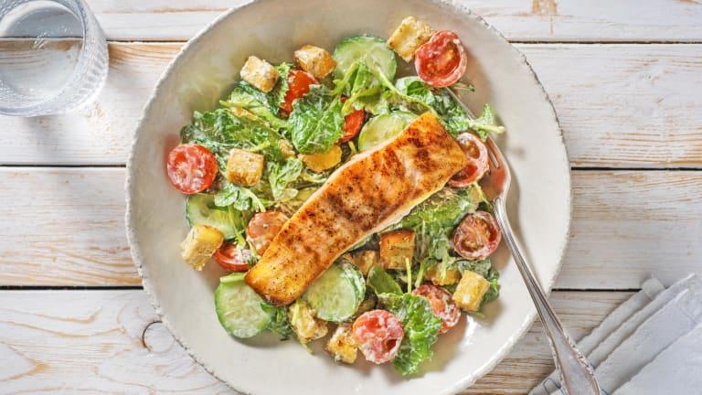 Caesar Spiced Salmon and Crunchy Dill Salad