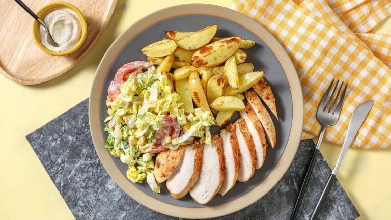 Cajun-Hähnchen mit Salat in Buttermilch-Dressing