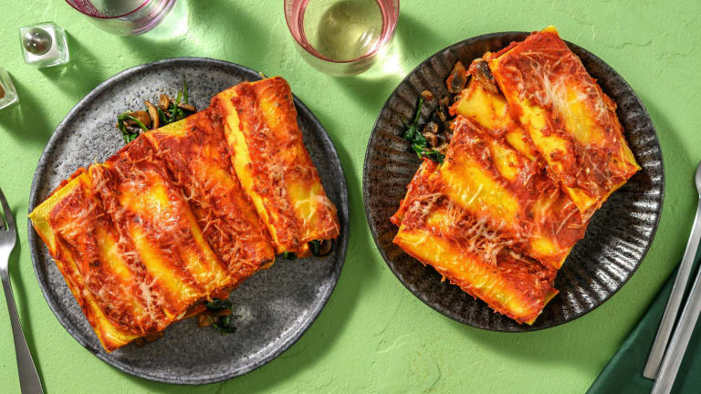 Cannelloni met romige spinazie-champignonvulling