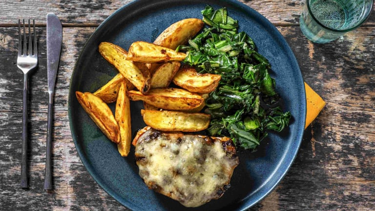 Cheese and Caramelised Onion Pork Steaks