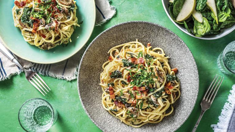 Speedy Bacon, Mushroom & Cheese Spaghetti