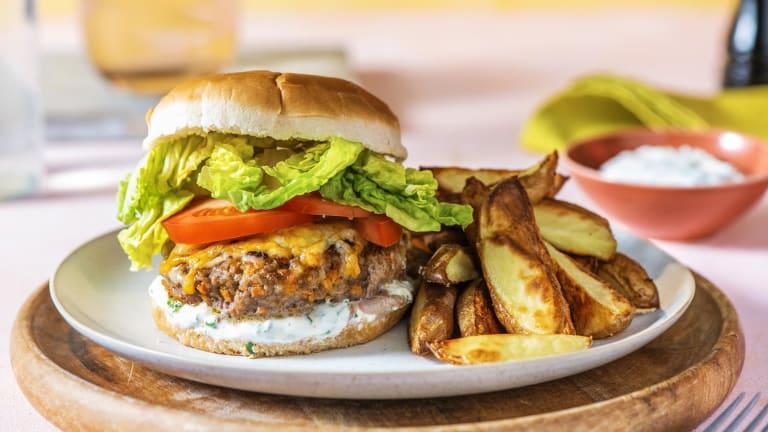 Cheeseburger mit verstecktem Gemüse