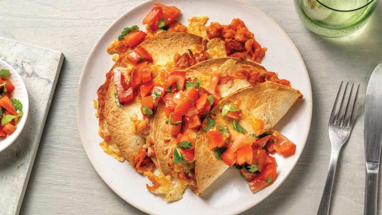 Cheesy Chorizo & Bean Quesadillas