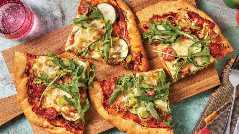 Easy Cheesy Chorizo, Courgette & Leek Pizza