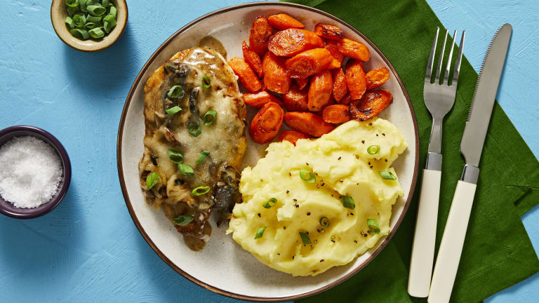 Cheesy Smothered Mushroom Chicken