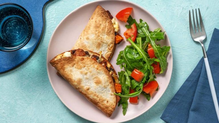 Cheesy Sweet Potato Quesadillas With Diced Chorizo