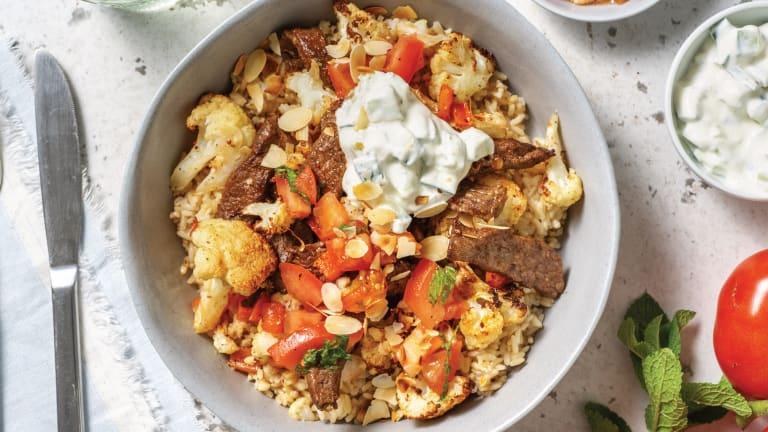 Chermoula Beef & Brown Rice Bowl with Dukkah Cauliflower & Cucumber Yoghurt