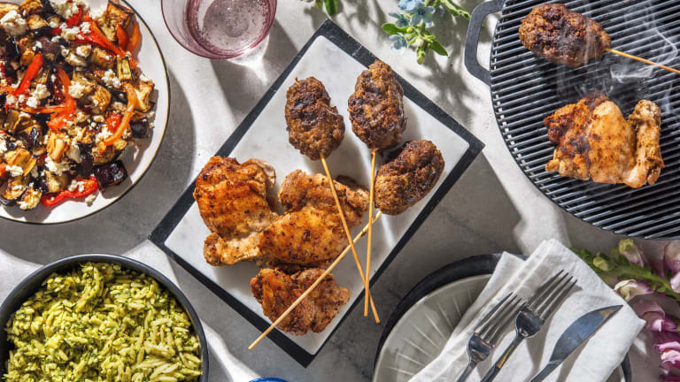 Chermoula Lamb Skewers and Lemon Oregano Chicken