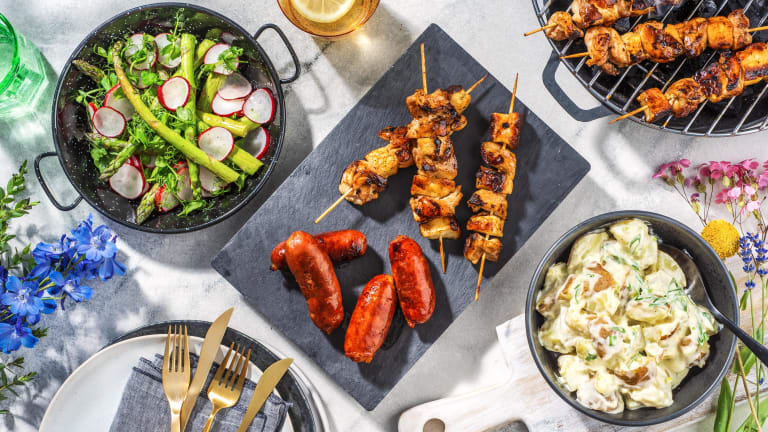 Chicken and Halloumi skewers, Chorizo Sausages